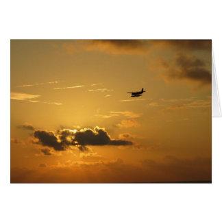 Sunrise & seaplane in the Maldives Greeting Card