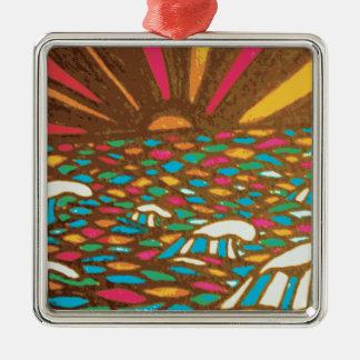 Sunrise Seascape Pop Art Zentangle Christmas Tree Ornament
