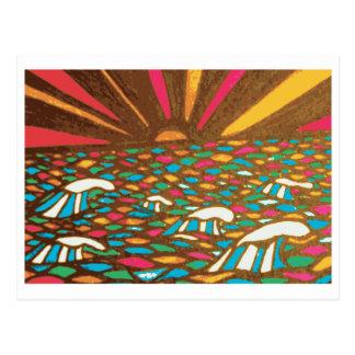 Sunrise Seascape Pop Art Zentangle Post Card