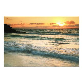 Sunrise Seascape Tulum Mexico Photo