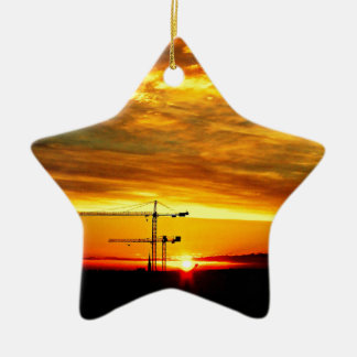 Sunrise silhouetting Cranes Christmas Ornament