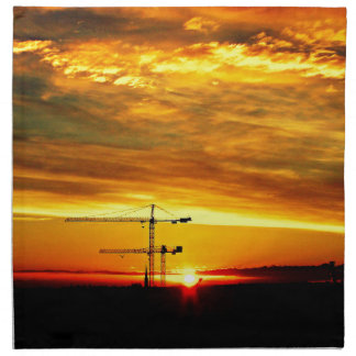 Sunrise silhouetting Cranes Napkin