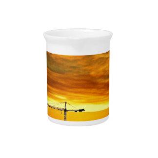 Sunrise silhouetting Cranes Pitcher