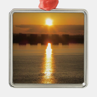 Sunrise Silver-Colored Square Decoration