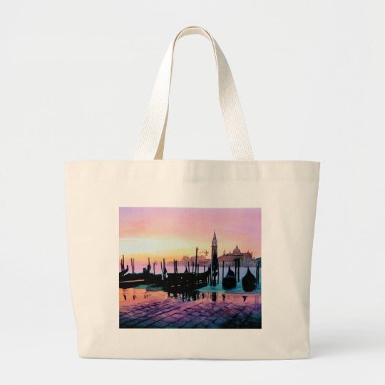 """Sunrise St. Mark's"" Gondola Watercolor Large Tote Bag"