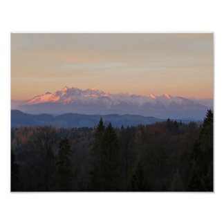 Sunrise Tatras view from Beskids Poster