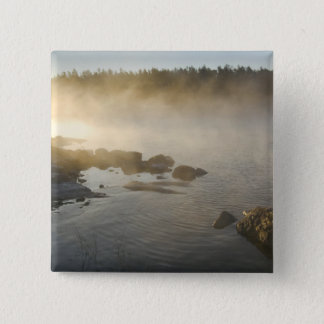 Sunrise through fog in Anderson Bay, Rainy 15 Cm Square Badge