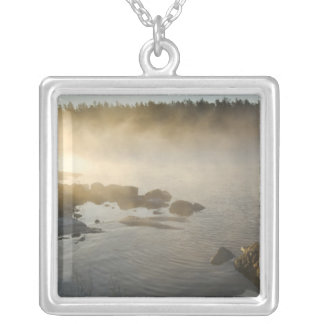 Sunrise through fog in Anderson Bay, Rainy Silver Plated Necklace