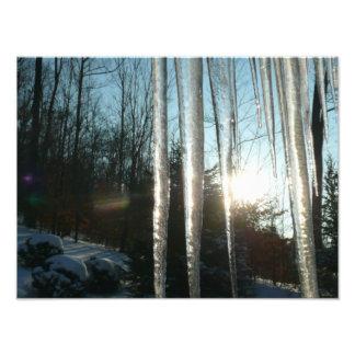 Sunrise Through Icicles Photo Print