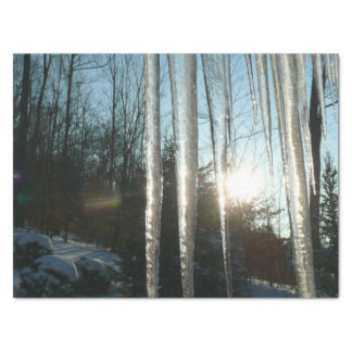 Sunrise Through Icicles Winter Nature Photography Tissue Paper