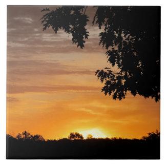 Sunrise Through Trees Ceramic Tile