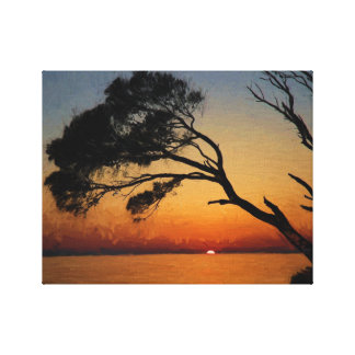 Sunrise Tree silhouette Oil Painting Canvas Print
