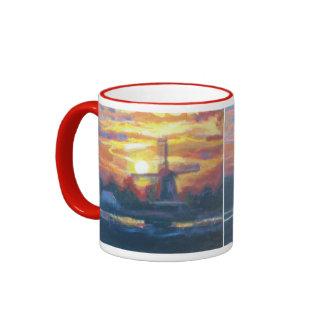 Sunrise Windmill Painting Mugs