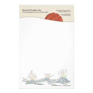 Sunrise with water splash letterhead customized stationery