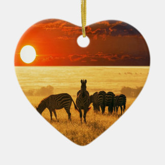 Sunrise Zebras Christmas Ornament