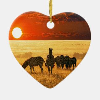 Sunrise Zebras Double-Sided Heart Ceramic Christmas Ornament