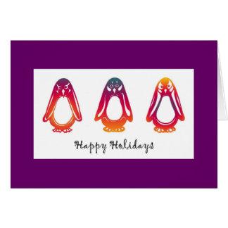 Sunriser and Sunset Penguins Happy Holidays Greeting Card