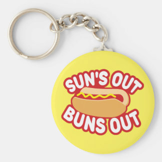 Suns Out Buns Out Basic Round Button Key Ring