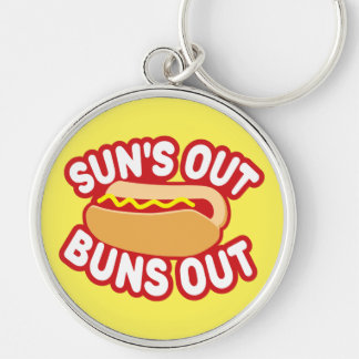 Suns Out Buns Out Silver-Colored Round Key Ring