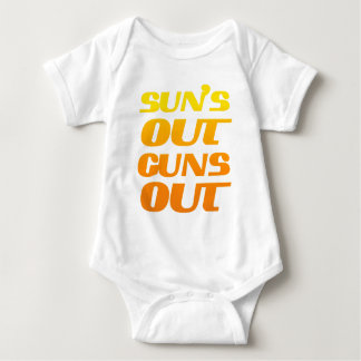 SUN'S OUT GUNS OUT FITNESS AND GYM BABY BODYSUIT