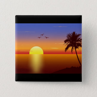 Sunset 15 Cm Square Badge
