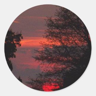 Sunset 4 round sticker