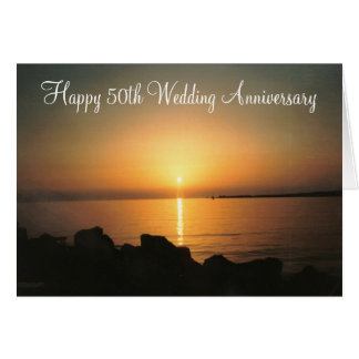 Sunset 50th Wedding Anniversary Greeting Card
