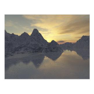 sunset & a frozen river postcard