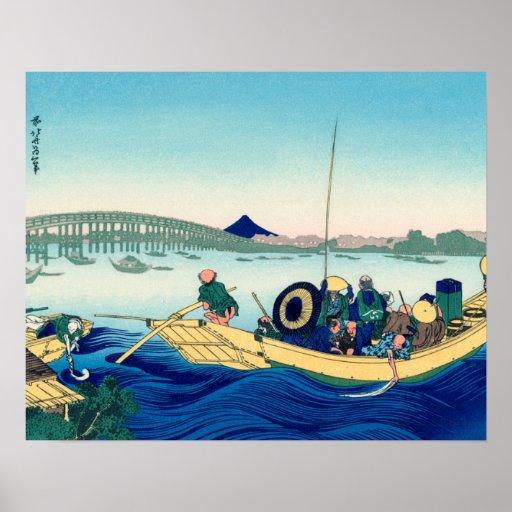 Sunset across the Ryōgoku bridge Posters