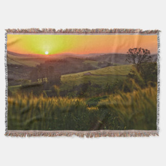 Sunset Agriculture Wheat Throw Blanket