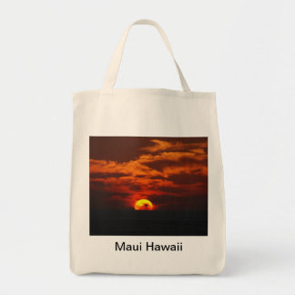 Sunset along the Pali Grocery Tote Bag