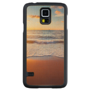 Sunset and beach carved maple galaxy s5 case
