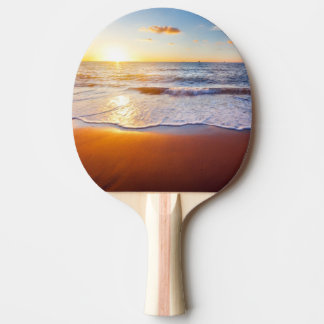 Sunset and beach ping pong paddle