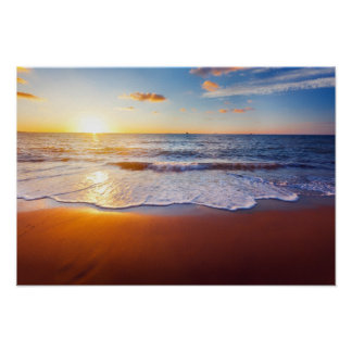 Sunset and beach poster
