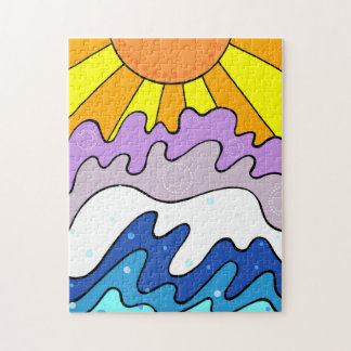 Sunset and Beach Puzzle Abstract Art