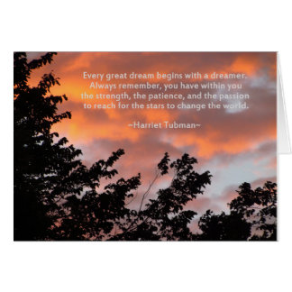 Sunset and Inspirational Quote by Harriet Tubman Greeting Card