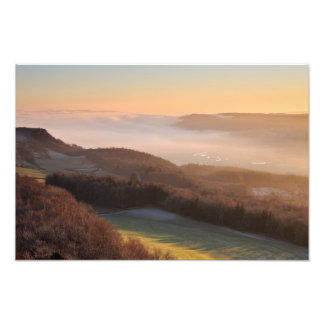 Sunset and low mist - Scout Scar, Kendal Photo Print