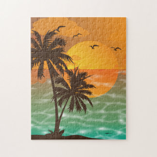 Sunset and Palm Trees 11x14 Jigsaw Puzzle