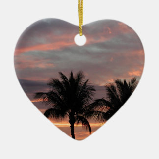 Sunset and palm trees ceramic heart decoration