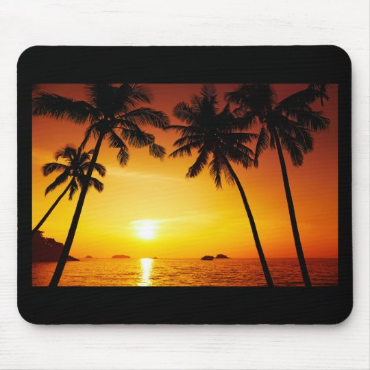 Sunset and Palm Trees Mouse Mat