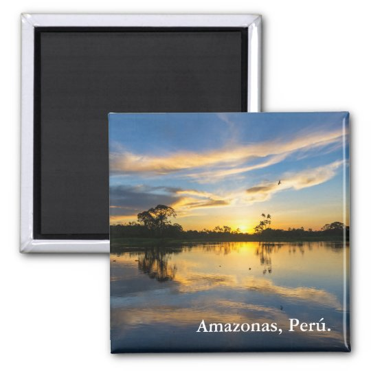 Sunset and Reflection in the Amazon Square Magnet