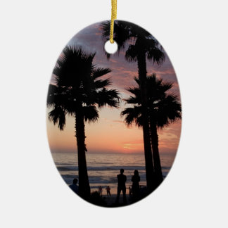 Sunset and Rocky Waves Ornament