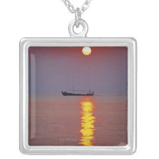 Sunset and Sea 2 Silver Plated Necklace