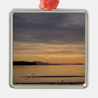 Sunset and Sea Birds Silver-Colored Square Decoration