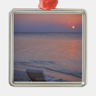 Sunset and Sea Silver-Colored Square Decoration