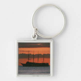 Sunset and Ship Key Ring