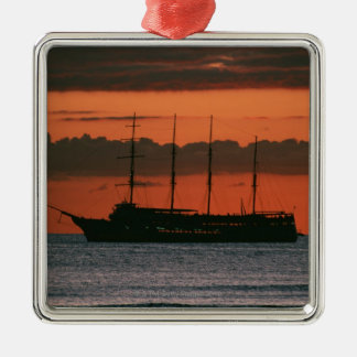 Sunset and Ship Silver-Colored Square Decoration