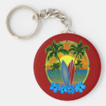 Sunset And Surfboards Basic Round Button Key Ring