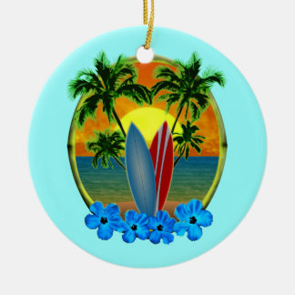 Sunset And Surfboards Christmas Ornament