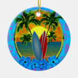 Sunset And Surfboards Double-Sided Ceramic Round Christmas Ornament